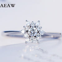 18k White Gold 0.32ctw Real Diamond Engagement Ring Prong Setting Solitaire Solitaire Style For Women