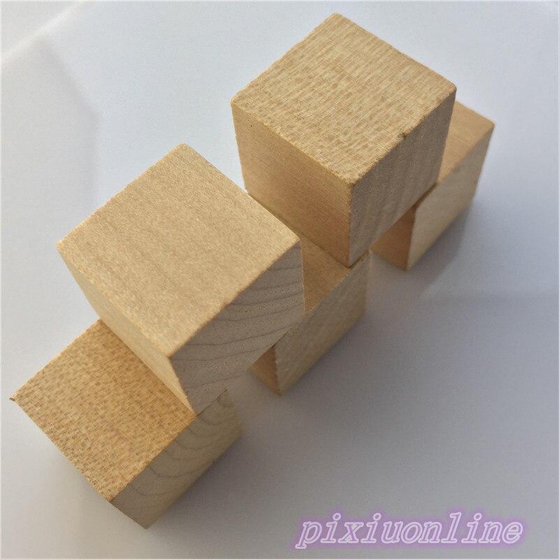 5pcs J136 Locust Wooden Block Natural Square 2*2*2cm Polished no Burr Model