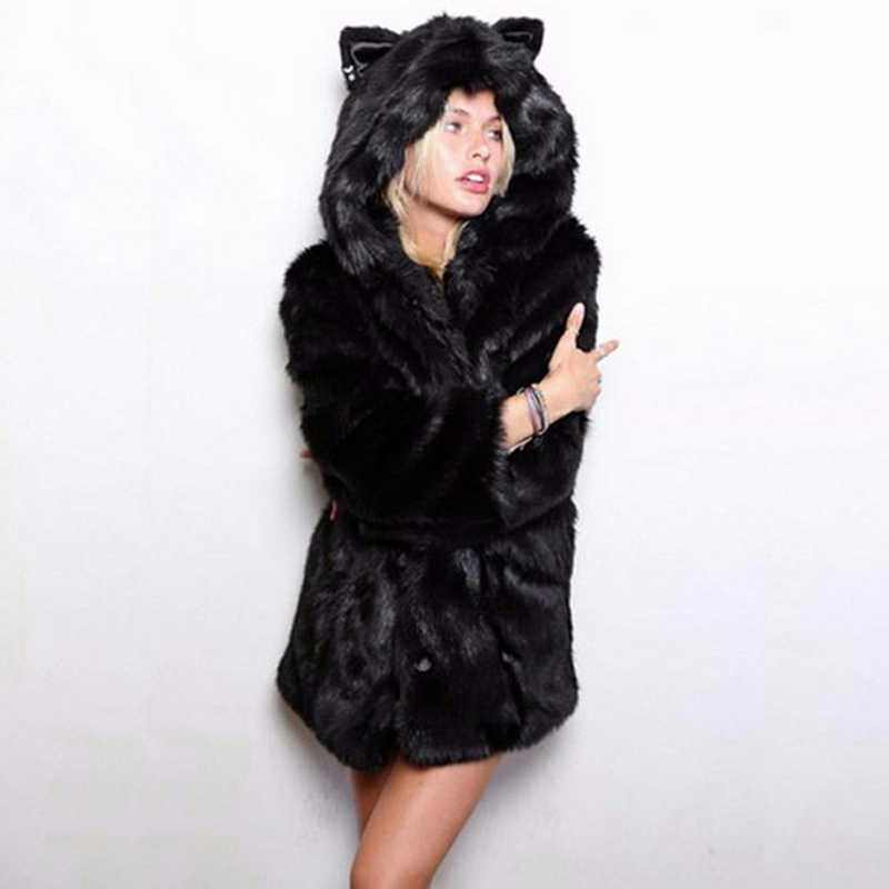 db514761cf1 ... New 2017 Winter Women Medium Long Hooded Wolf Ear Artificial Faux Fox  Fur Coats Fake Fur