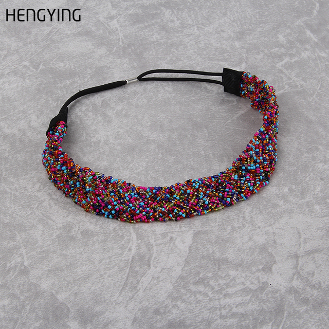 HENGYING Colorful Glass Beads Decorated Headbands For Women Girls Metal,Glass Headbands Sport Accessories Hair wear Fashion 2017