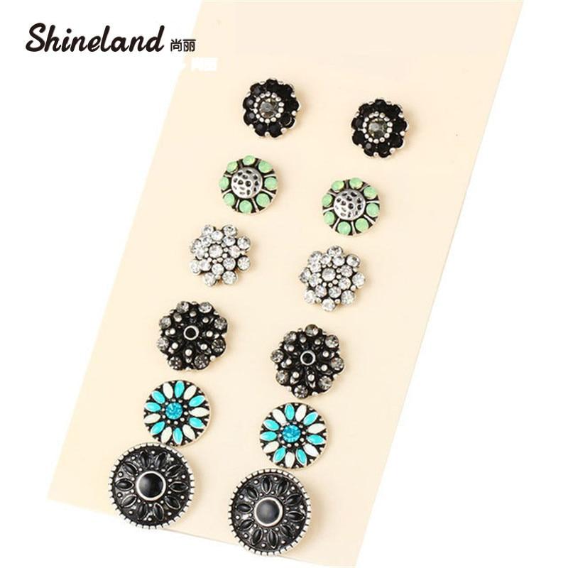 6Pairs//Set Fashion Women Earrings Set Crystal Flower Leaves Ear Stud Jewelry New