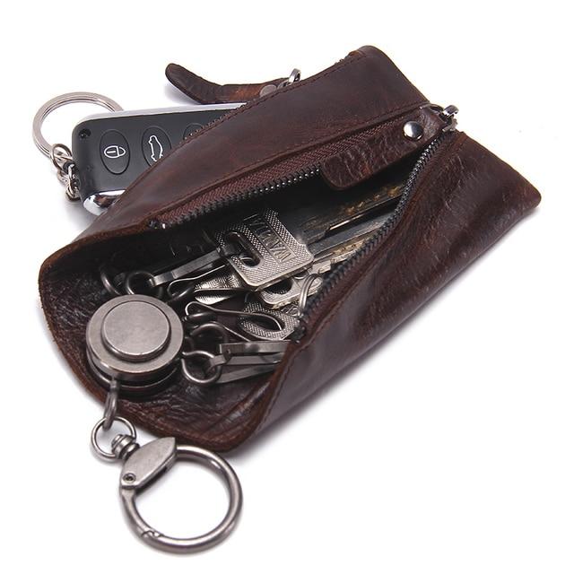 CONTACT'S 100% Genuine Leather Key Wallet Men Car Key Holder Zipper Keys Case Top Quality Male Man Housekeeper Keys Organizer 2