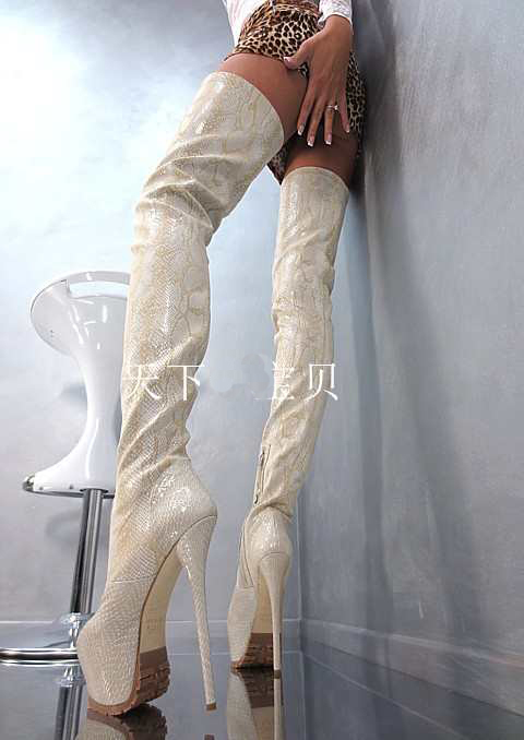 New arrival over-the-knee platform high heel boots women sexy snakeskin leather winter ultra stiletto heels ladies party shoes w ppnu woman winter nubuck genuine leather over the knee snow boots women fashion womens suede thigh high boots ladies shoes flats