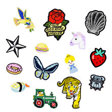 1PCS Mix Funny Patches for Kid Clothing Iron on Transfer Girl Patch Animal Applique for Jacket Clothes DIY Sew Embroidery Patch(China)