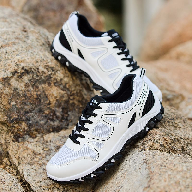Pour Mode À Lacets Hommes Mesh Des De Mens Red blanc Marche Respirant Chaussures Slip black Casual Sneakers on Automne 5wPwOgx