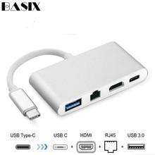 Basix Usb C Ethernet USB C כדי HDMI 4 K + Gigabit Ethernet (RJ45 יציאת) + USB 3.0 סוג C רכזת מתאם USB C ספליטר עבור Macbook