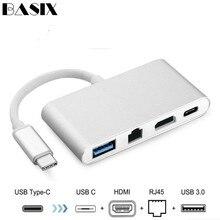 Basix Usb C a Ethernet USB C a HDMI 4 K + Gigabit Ethernet (RJ45 Puerto) + USB tipo C USB 3,0 adaptador de Hub USB C divisor para Macbook