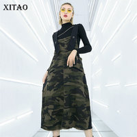 XITAO Hip Hop Plus Size Leopard Midi Dress Patchwork Pocket Street Square Collar Sleeveless Match All Korean Summer New ZLL3721