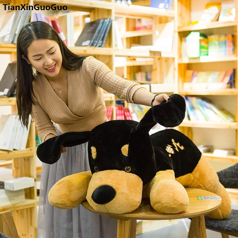 stuffed-toy-lovely-prone-dog-large-110cm-blackbrown-love-dog-plush-toy-soft-doll-hugging-pillow-birthday-gift-s0207