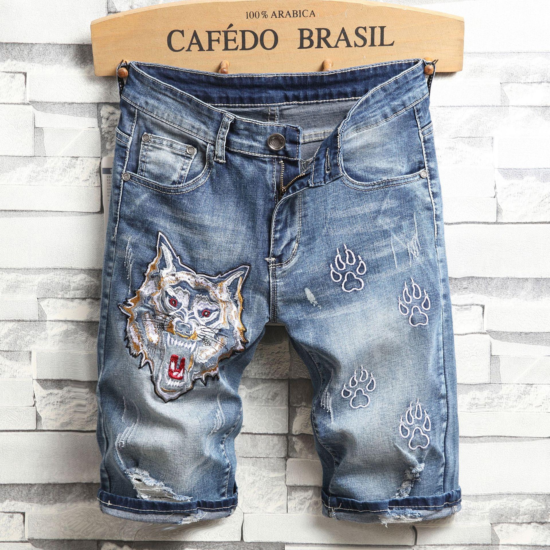 Men's Shorts Slim Fit Hole High Street Shorts Men Sweatpants Hip Hop Wolf Head Embroidery Knee Length Casual Safari Stlye 28-38
