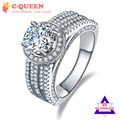 Jrose Russian 3.45CT White 100% Real Pure 925 Sterling Silver Ring Men Women Wedding Engagement Party Jewelry Gift size 6 7 8 9