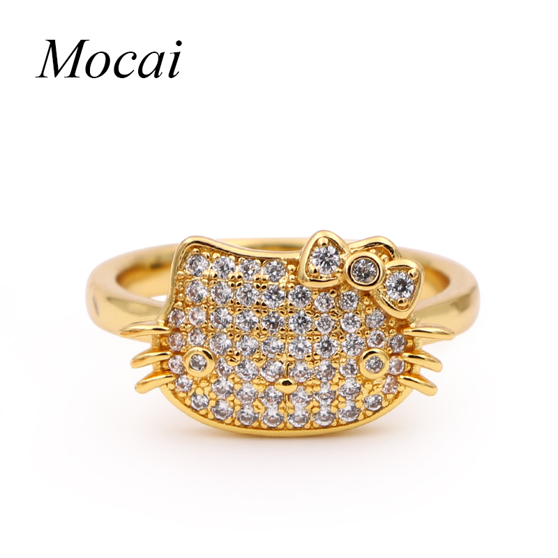 2cade7ebc Mocai Fashion Brand Gold Plate Cute Hello Kitty Rings Full Setting Cubic  Zirconia Smarte Cat Alloy Luxury Ring Jewelry Girl -in Rings from Jewelry  ...