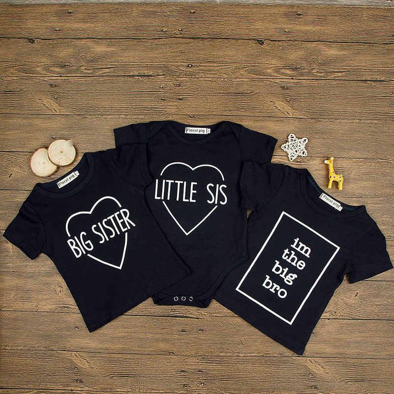 e8eddb00 ... Baby Clothes Boys Girls T-shirt Short Sleeve Top Cotton Print Big  Brother & Little ...