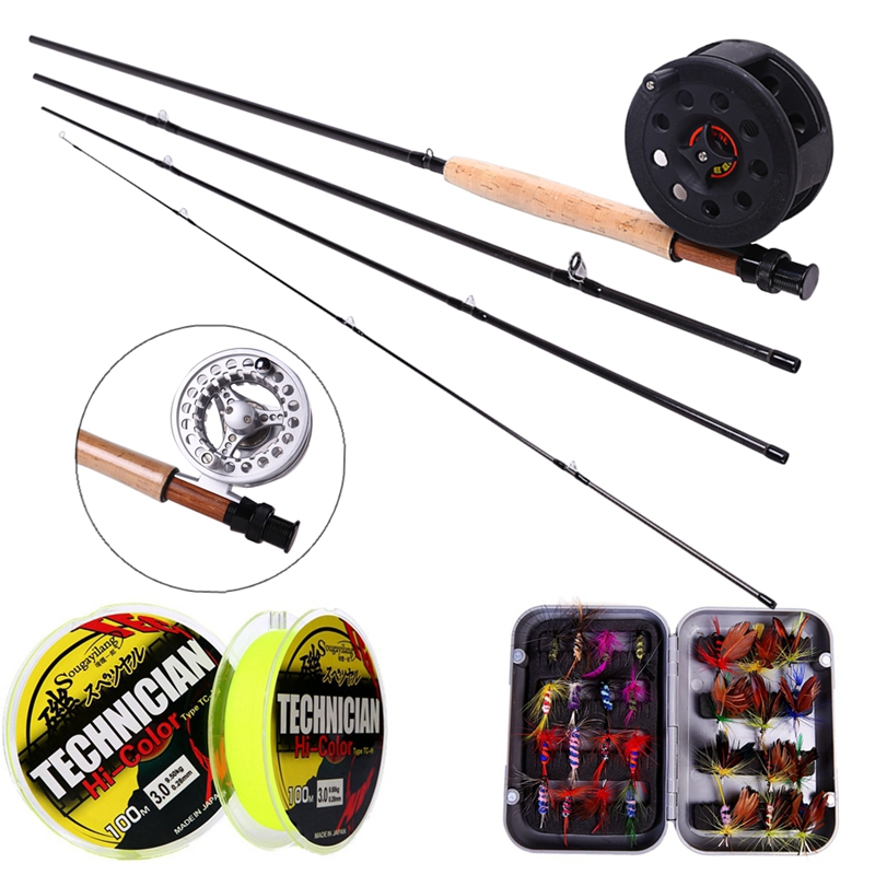 Sougayialng 8.86FT # 5/6 Fly Fishing Rod Set 2.7M Fly Rod და Fly Reel Combo ერთად Fishing Lure Line Box Set Fishing Rod Tackle