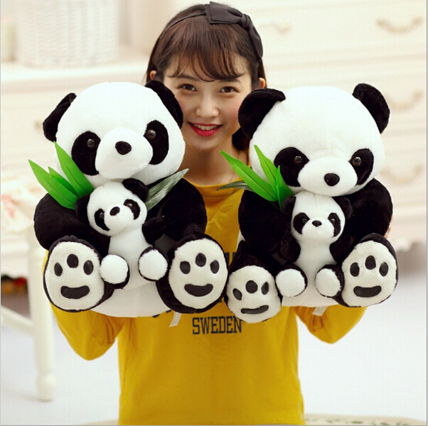 wholesale and retails 25cm mother and the kid panda plush toy lovely doll stuffed toy perfect gift for children freeshipping couple frog plush toy frog prince doll toy doll wedding gift ideas children stuffed toy