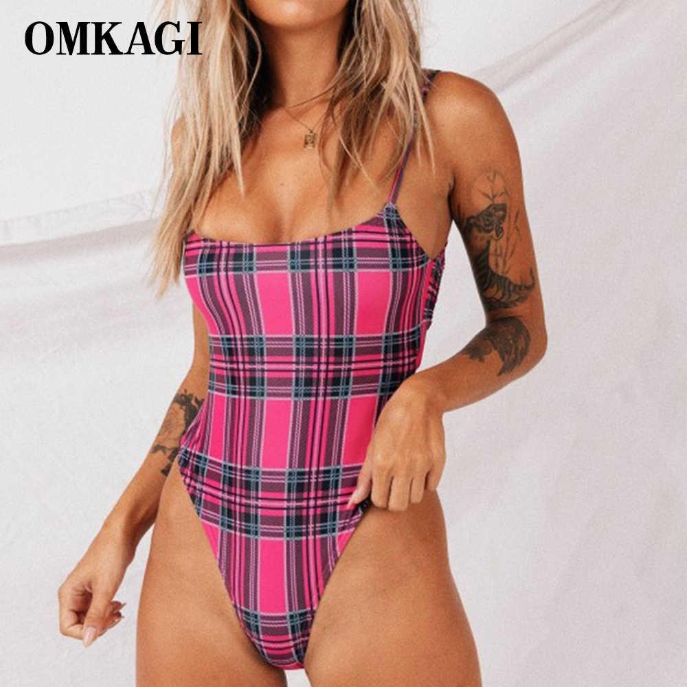 OMKAGI брендовый клетчатый Цельный купальник, купальник для женщин, купальный костюм, летняя пляжная одежда, сексуальный Монокини, 2019 боди