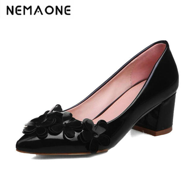 a3aff1a35207 Fashion flower single shoes pointed toe high heels women s shoes 2017  spring sexy plus size thick heel shoes