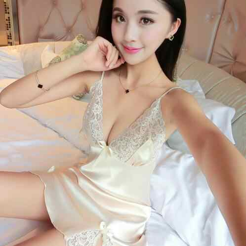 f0fec9bd56b ... 2019 summer women's sexy bride lingerie lace side babydoll white  negligee pyjamas vintage nightgown silk nightdress