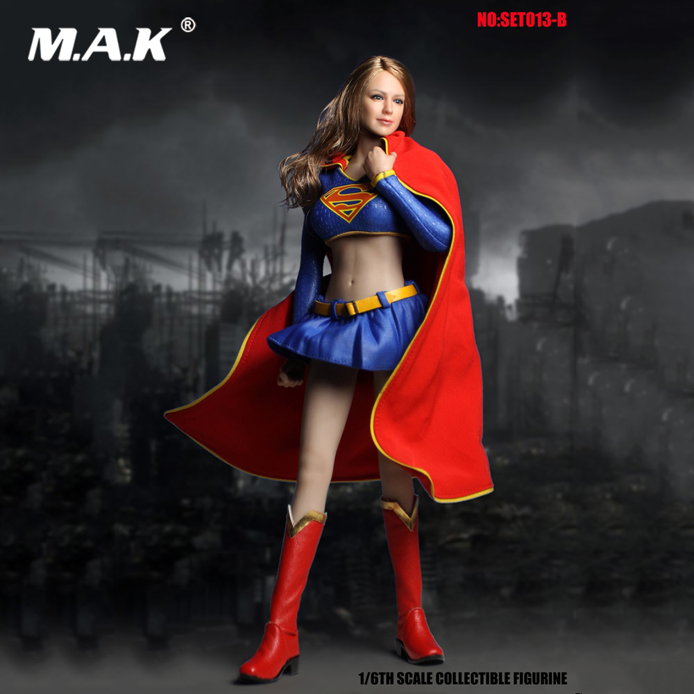 DIY COSPLAY 1/6 SET013B Female Clothes Set Supergirl Hero Suit Superwoman Series Accessories for 1:6 Suntan Action Figure Body diy cosplay 1 6 set013b female clothes set supergirl hero suit superwoman series accessories for 1 6 suntan action figure body