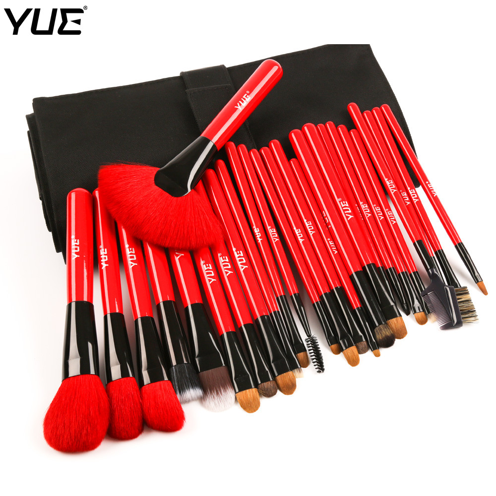 YUE Brand  Makeup Brushes Sable and Goat Hair  26pcs Professional Make Up Brush Set With High Quality Belt Bag msq 15pcs professional makeup brushes set foundation fiber goat hair make up brush kit with pu leather case makeup beauty tool