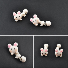 Gift COOL Style Personalized 100 handmade polymer clay accessories earrings women cartoon Cute bunny stud fashion