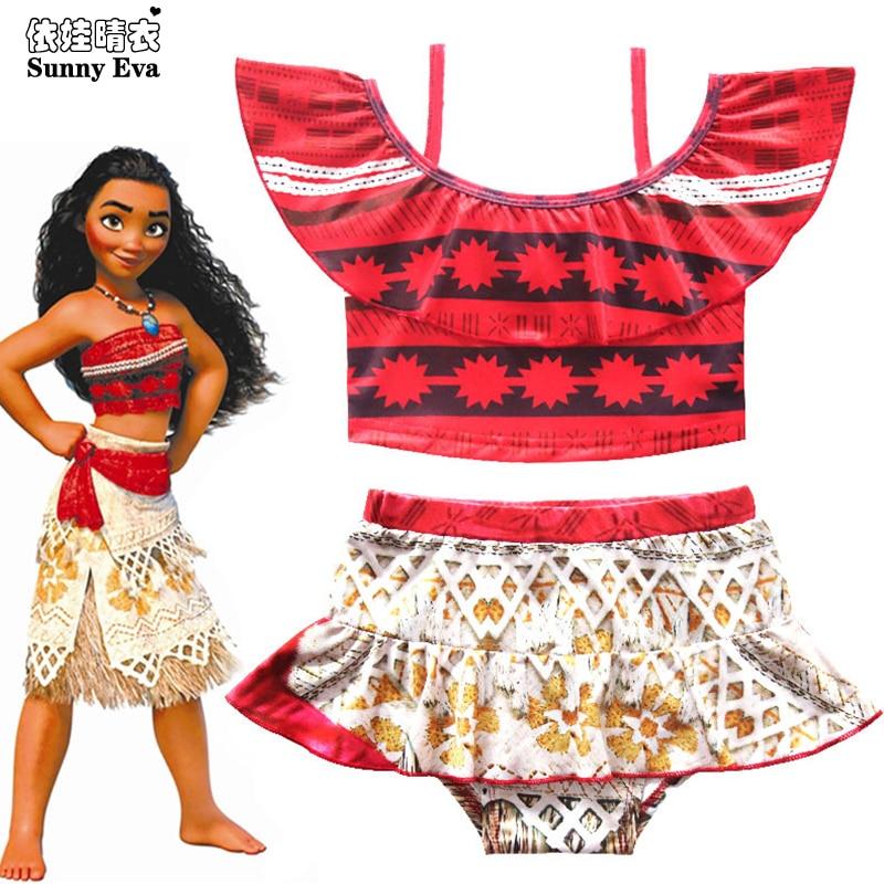 9bf25c9b58b26 Sunny eva Moana swimwear print Two-Piece Bikini Girls kids Beach wear  princess 2019 separate children's swimwear Maillot De Bain