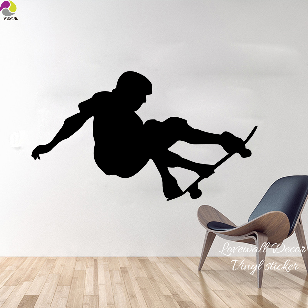 97 cm x 56 cm skateboard stiker dinding kamar tidur anak ruang skater skating sport dinding decal cut vinyl home decor mudah wall art mural di wall stickers