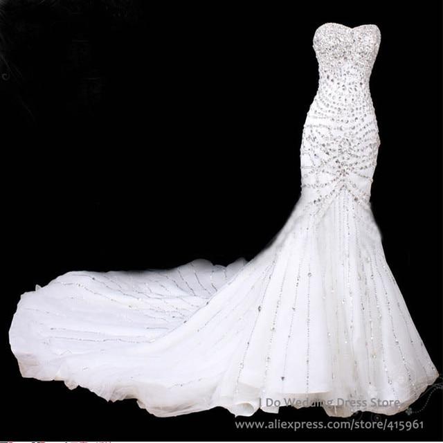 Luxury sweetheart crystal mermaid wedding dresses for True mermaid wedding dresses