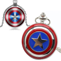 Steampunk Boy S Captain America Avengers Shield Quartz Pocket Watch Necklace Pendant Creative Fob Chain Fashion