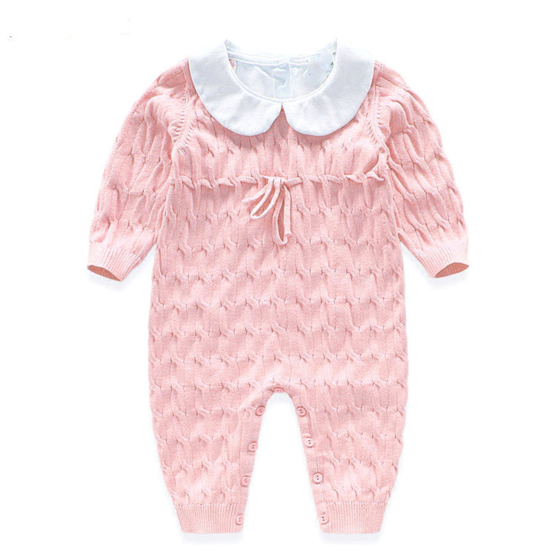 New Baby Rompers Knitted Jumpsuit Cotton Coveralls 2016 Boy Girl Romper Solid Infant Apparel Spring Autumn Clothes Baby Clothing baby rompers baby winter coveralls infant boy girl fleece romper ropa nena invierno knitted stripe jumpsuit bebe newborn outwear