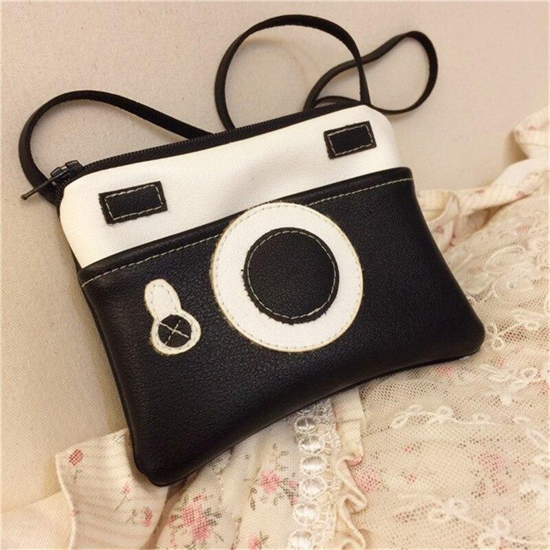 1 Pc Vintage Kind Tasche Münze Tasche Geld Halter Baby Kamera Tasche Junge Geldbörse Kinder Brieftasche Kleine Ändern Geldbörse Mädchen Handtasche Schwarz