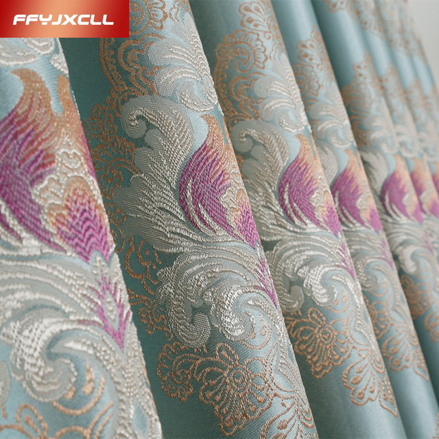2017 European Blackout Curtains For Living Room Jacquard Luxury Drapes Bedroom Fabric Blinds Window