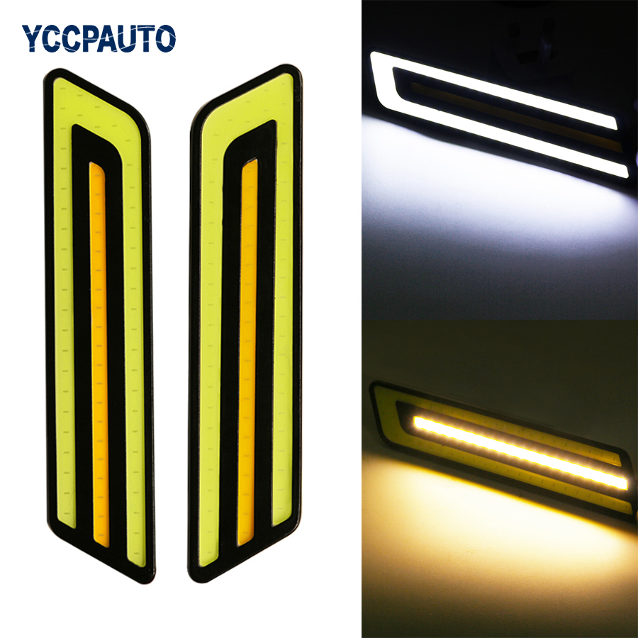 YCCPAUTO car-styling Daytime Running Fog Lights LED White/Yellow Dual Color External Waterproof DRL Led Light Source DC12V