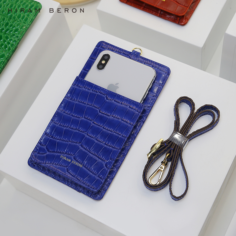 HIRAM BERON PHONE WALLET POUCH EMBOSSED CROCODILE PATTERN COW LEATHER WITH LANYARD CUSTOM NAME SERVICE