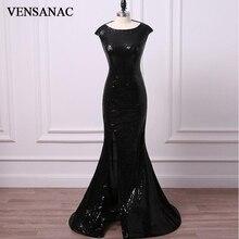 VENSANAC 2018 O Neck Sequined Split Long Mermaid Evening Dresses Elegant Party Zipper Back Sweep Train Prom Gowns