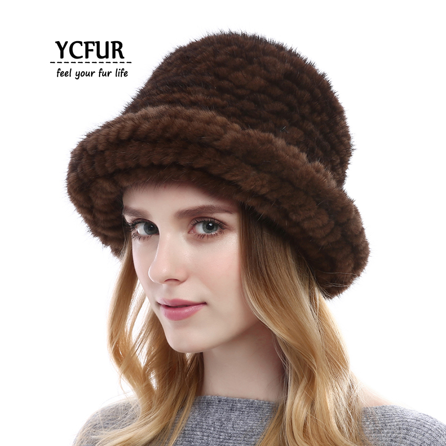 YCFUR Fashion Women Winter Caps Hats Handmade Knit Genuine Mink Fur Bucket Hat For Women Warm Beanies Hats Skullies Female картридж nvprint q7553x q5949x nvprint q7553x