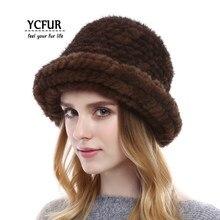 d25660576322eb YCFUR Fashion Women Winter Caps Hats Handmade Knit Genuine Mink Fur Bucket  Hat For Women Warm Beanies Hats Skullies Female