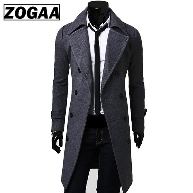 2018 New Geek Mens Wool Coat Jacket Double-breasted Mens Overcoat Long Sleeve Men Coat Winter Slim Solid Male Trench Coat