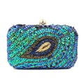 Fashion Peacock Clutch Bags Handmade Crystal Beaded Evening Handbags Gold Banquet Bag Small Luxury Clutch Purse for Women JXY763