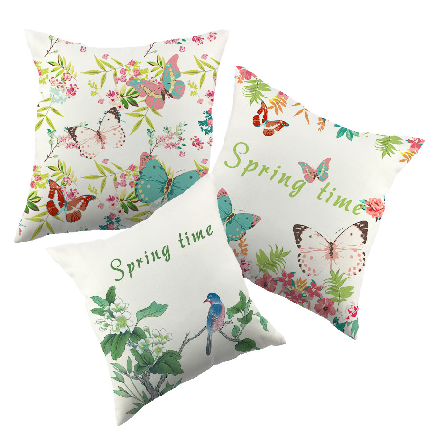 Spring Leaves Butterfly Design Cottom Cushion Cover Colorful Pillow Case For Home Couch Green Pink