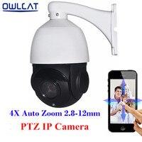 Hi3516C + SONY IMX222 OwlCat Full HD 1080 P IR Mini câmera Dome Velocidade Média IP CCTV PTZ Câmera 2.0MP Onvif 4X Zoom Automático Do Monitor Móvel