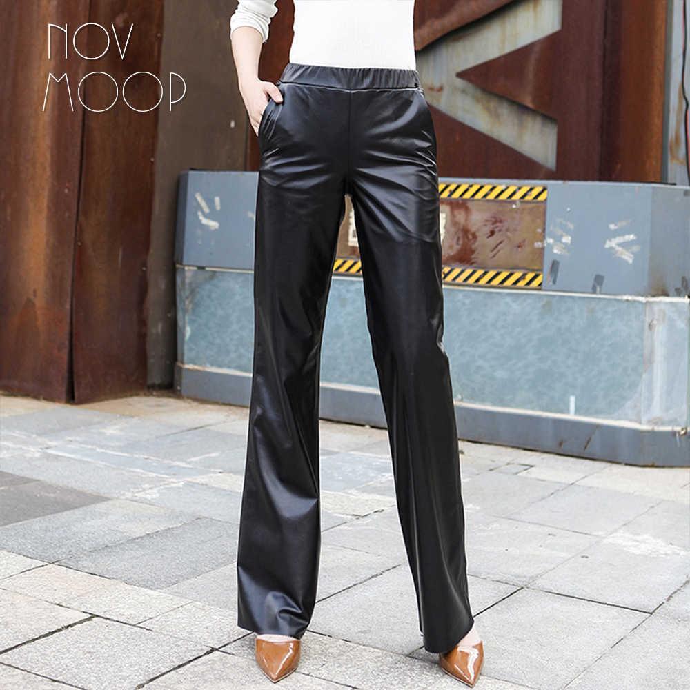 Женские Длинные прямые брюки из натуральной овчины в офисном стиле, черные брюки с эластичной талией, LT2550