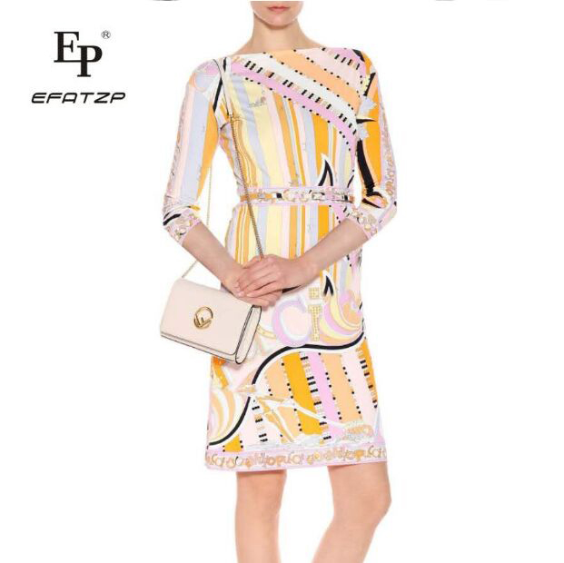 EFATZP Fashion Casual Lady Summer wear Women s Slim with belt beautiful print elastic knitted dress