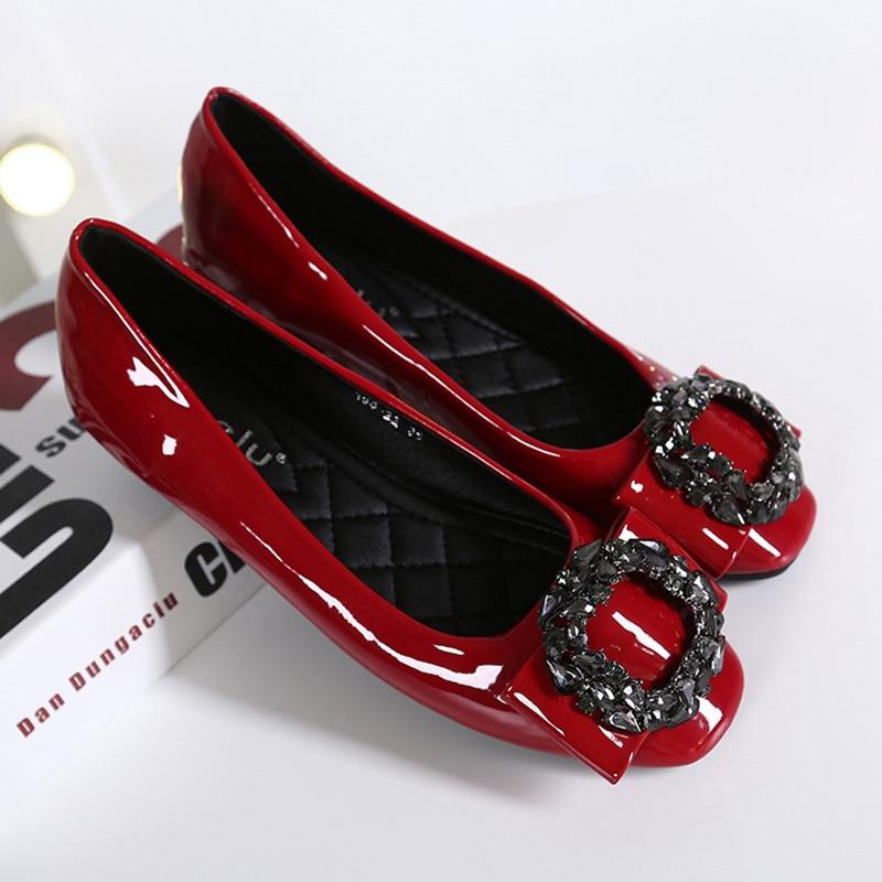 Noir Noir Arc Toe Sur Femmes De Mujer Zapatos Slip Rouge gris Mocassins Appartements Chaussures Gris Square Cristal Bateau rouge Femme Strass H9DE2WI
