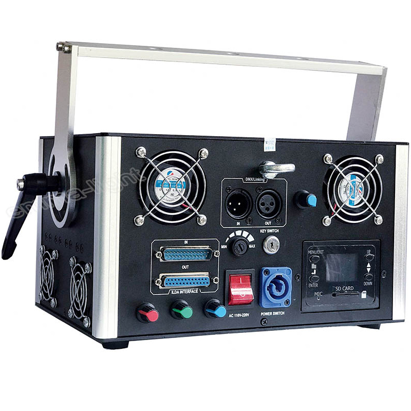 US $1130 0 |High Power Advertising Laser dmx 512 laser 5000mw Rgb Animation  3d Laser DIY Logo Projector-in Stage Lighting Effect from Lights &