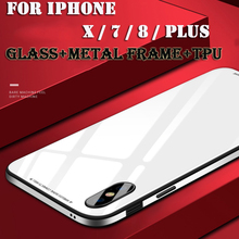 For IPhone X Case 360 Full Protector Soft TPU Metal Side Rigid Glass Case for IPhone 7 8 Plus Back Cover for Iphone7 Iphone8