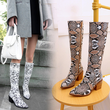 New Knee High Boots Woman Long Boots Sexy Snake Print Women Winter Short Plush Shoes Zipper Thick Heels Pu Leather Boots SIze 43 bling pu leather women sexy boots high heels zipper shoes warm fur winter boots for women x1022 35