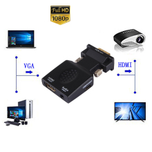 Luiizans Mini VGA to HDMI Adapter Audio Port Extension Converts Analog PC (RGBHV )and Signal