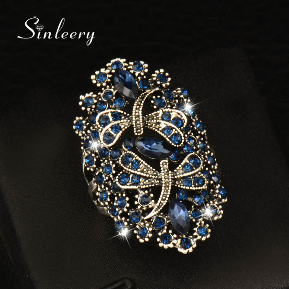 Sinleery Vintage Big Hollow Blue Rhinestone Dragonfly