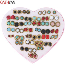 OATHYAN 36 Pairs/Set Retro Green Stone Stud Earrings Sets Vintage Mixed Flower Square Round Golden Party Earring For Women